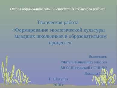 Отдел образования Администрации Шахунского района Творческая работа «Формиров...