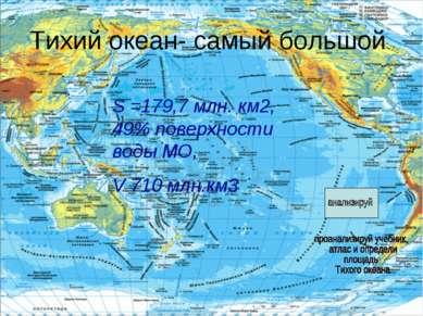 Тихий океан- самый большой S =179,7 млн. км2, 49% поверхности воды МО, V 710 ...