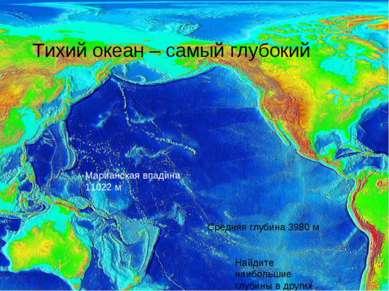 Тихий океан – самый глубокий Марианская впадина 11022 м Средняя глубина 3980 ...
