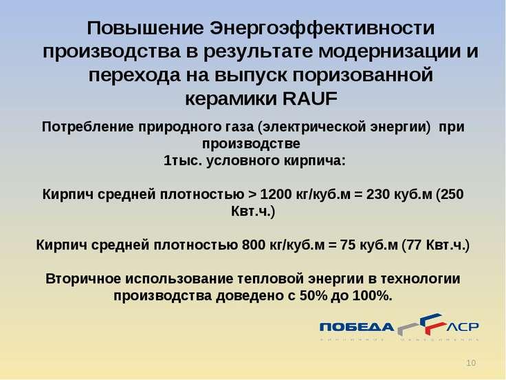 * Потребление природного газа (электрической энергии) при производстве 1тыс. ...