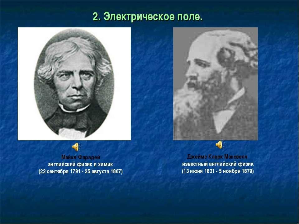 2. Электрическое поле. Джеймс Клерк Максвелл известный английский физик (13 и...