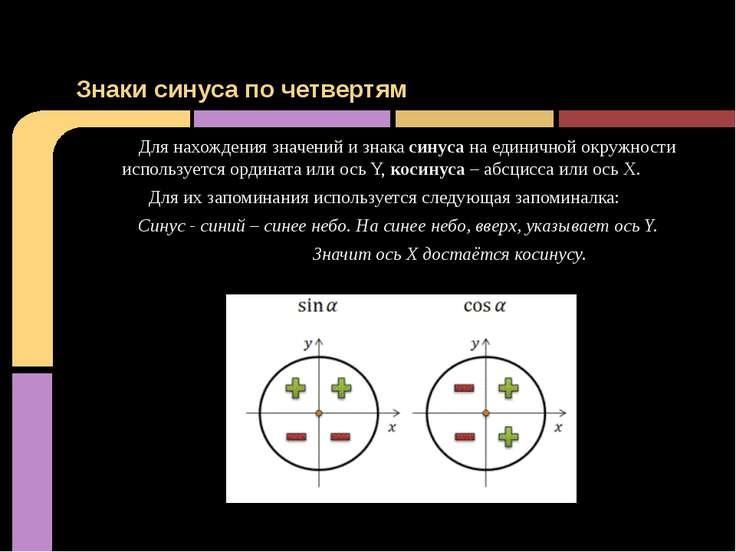Для нахождения значений и знака синуса на единичной окружности используется о...