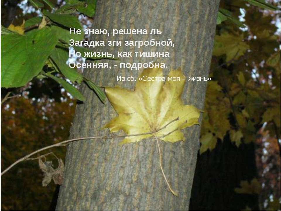 Не знаю, решена ль Загадка зги загробной, Но жизнь, как тишина Осенняя, - под...