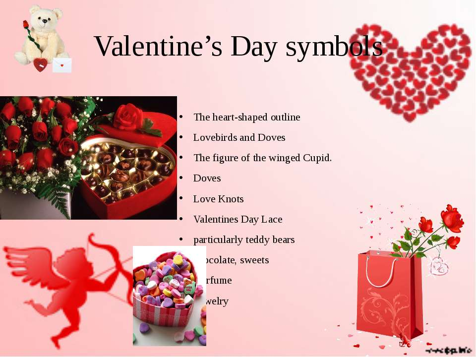 Valentine's Day symbols The heart-shaped outline Lovebirds and Doves The figu...