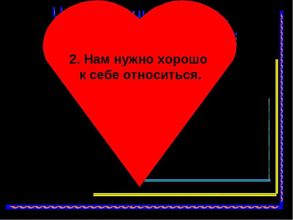 Нам нужно, чтобы нас любили. 2. Нам нужно хорошо к себе относиться.