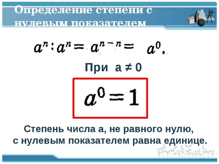 Определение степени с нулевым показателем При a ≠ 0 Степень числа a, не равно...