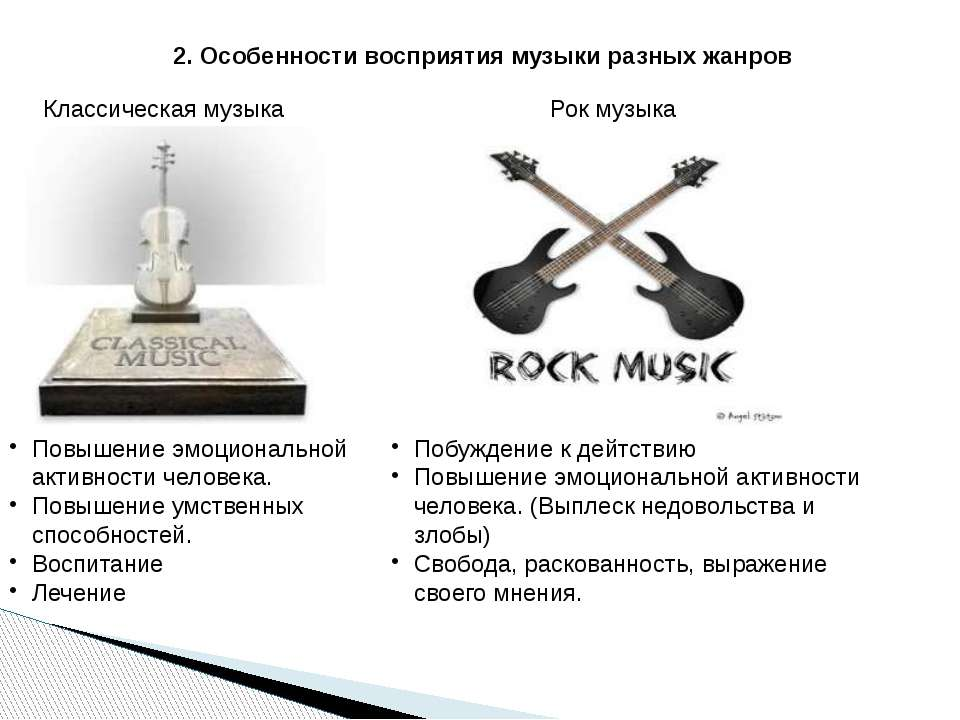 2. Особенности восприятия музыки разных жанров Классическая музыка Рок музыка...