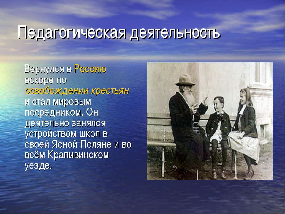 Педагогическая деятельность Вернулся в Россию вскоре по освобождении крестьян...