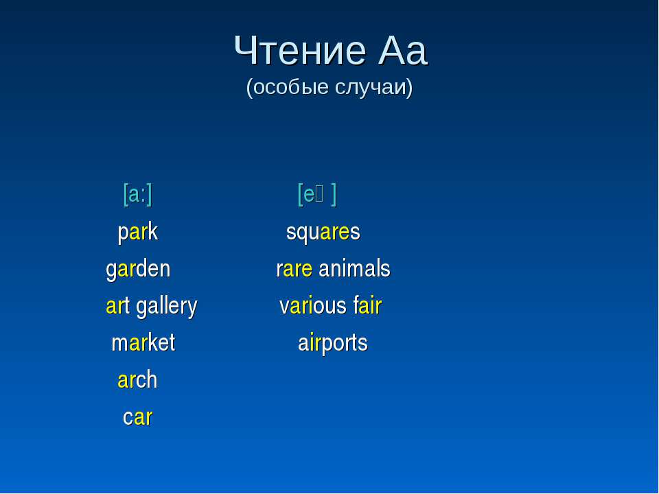 Чтение Аа (особые случаи) [a:] [eә] park squares garden rare animals art gall...