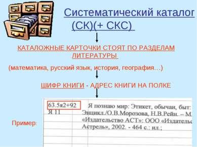 Систематический каталог (СК)(+ СКС) КАТАЛОЖНЫЕ КАРТОЧКИ СТОЯТ ПО РАЗДЕЛАМ ЛИТ...