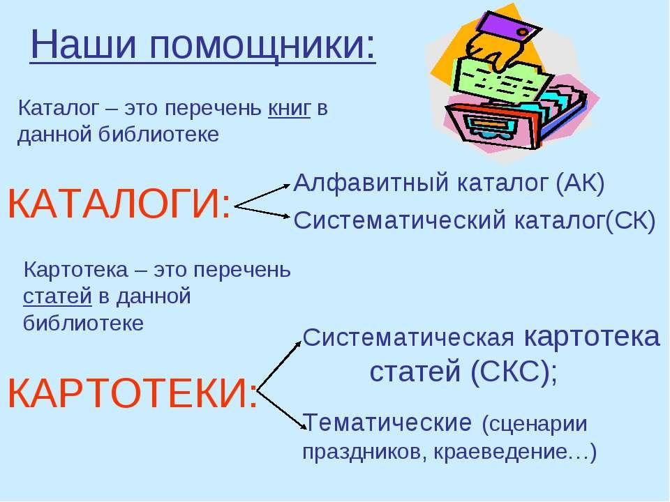 Наши помощники: Алфавитный каталог (АК) Систематический каталог(СК) КАТАЛОГИ:...