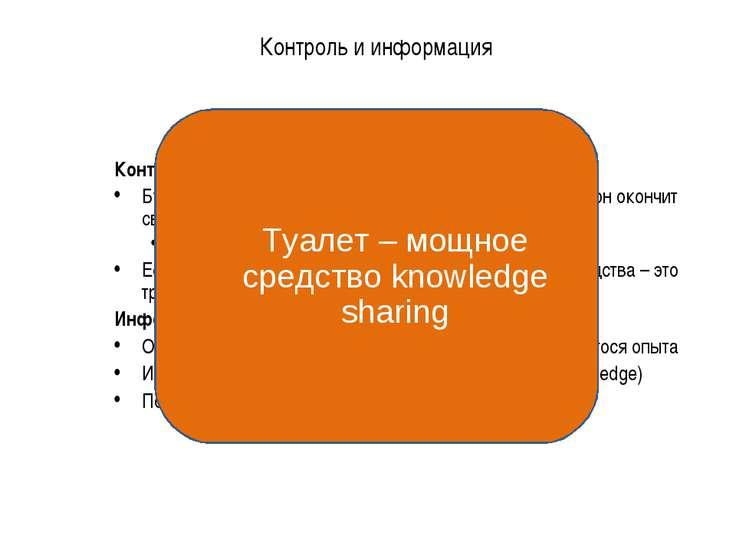Контроль и информация * Контроль Будьте в курсе, чем занят каждый подчиненный...