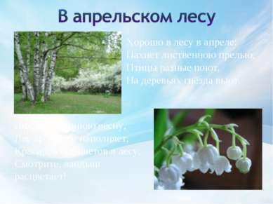 Хорошо в лесу в апреле: Пахнет лиственною прелью, Птицы разные поют, На дерев...