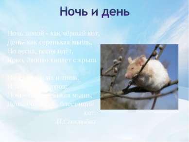 Ночь зимой - как чёрный кот, День- как серенькая мышь, Но весна, весна идёт, ...