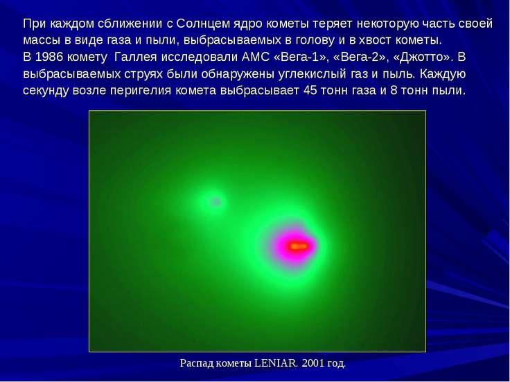 ПрикаждомсближениисСолнцемядрокометытеряетнекоторуючасть своей массы...