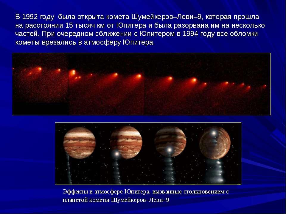 В1992 году былаоткрытакометаШумейкеров–Леви–9, которая прошла на расстоя...