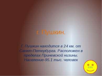 г. Пушкин. Г. Пушкин находится в 24 км. от Санкт-Петербурга. Расположен в пре...