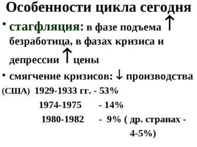 Особенности цикла сегодня стагфляция: в фазе подъема безработица, в фазах кри...