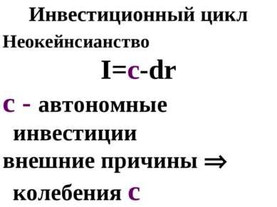 Инвестиционный цикл Неокейнсианство I=c-dr c - автономные инвестиции внешние ...