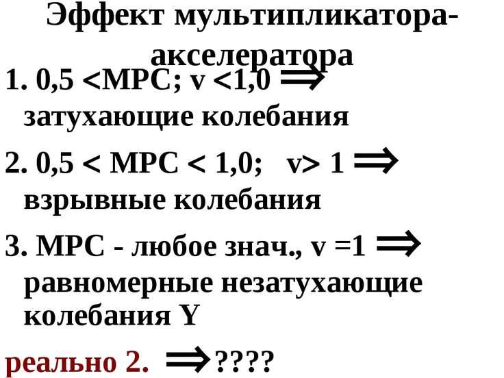 Эффект мультипликатора-акселератора 1. 0,5 МРС; v 1,0 затухающие колебания 2....