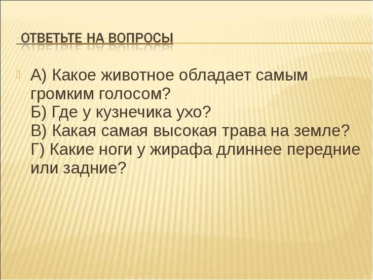 А) Какое животное обладает самым громким голосом? Б) Где у кузнечика ухо? В) ...