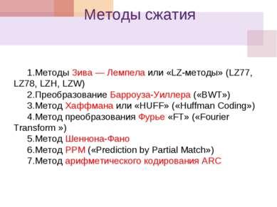 Методы сжатия Методы Зива — Лемпела или «LZ-методы» (LZ77, LZ78, LZH, LZW) Пр...