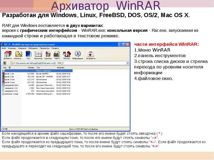 Архиватор WinRAR Разработан для Windows, Linux, FreeBSD, DOS, OS/2, Mac OS X....