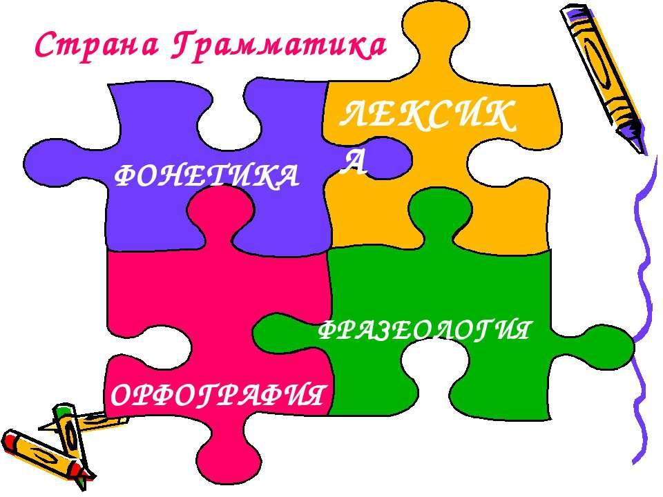 Страна Грамматика ФОНЕТИКА ЛЕКСИКА ФРАЗЕОЛОГИЯ ОРФОГРАФИЯ