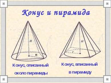 Конус и пирамида Конус, описанный около пирамиды Конус, вписанный в пирамиду R