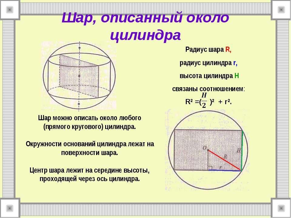 Шар, описанный около цилиндра Радиус шара R, радиус цилиндра r, высота цилинд...