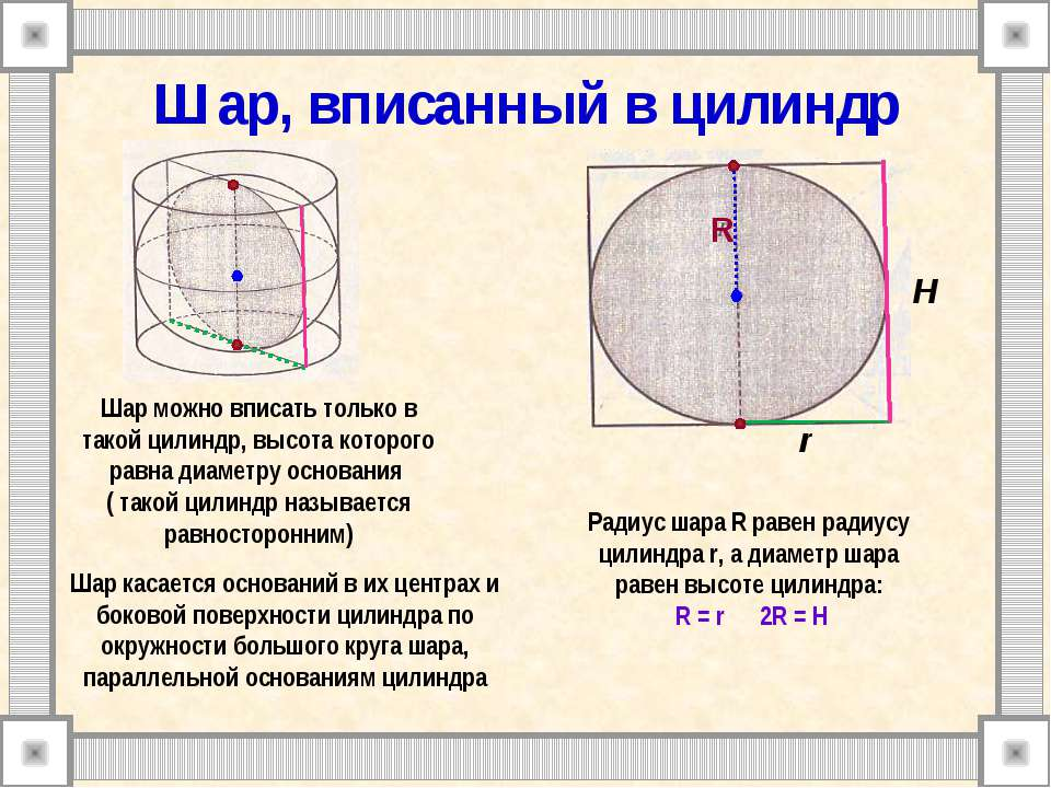 Шар, вписанный в цилиндр Радиус шара R равен радиусу цилиндра r, а диаметр ша...