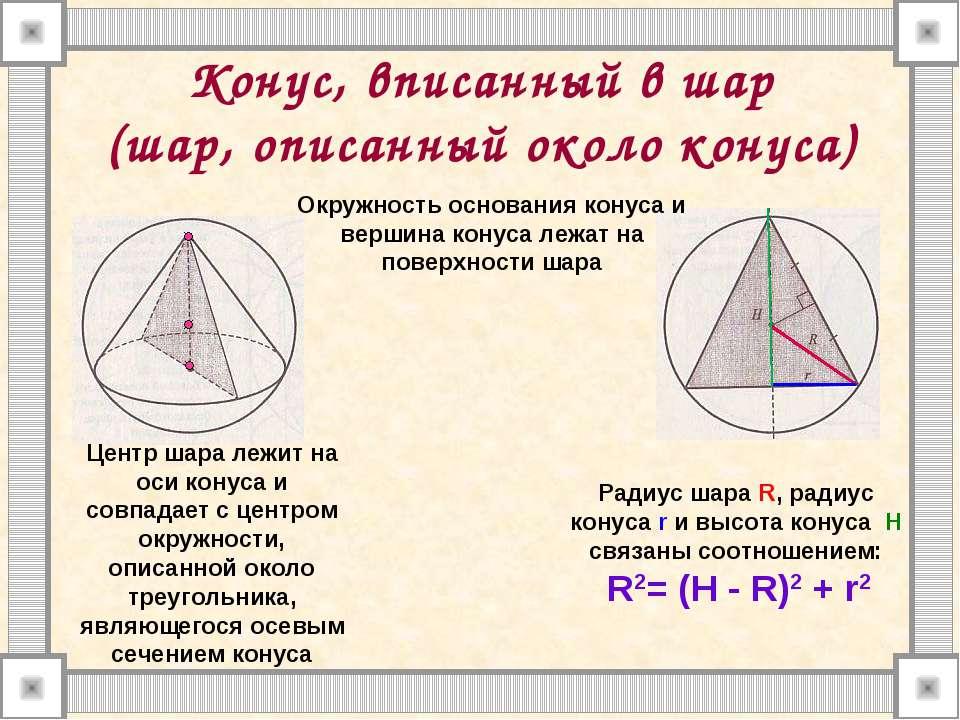 Конус, вписанный в шар (шар, описанный около конуса) Окружность основания кон...