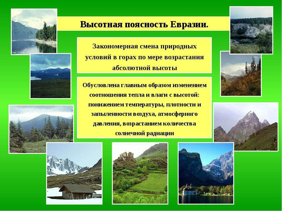 Высотная поясность Евразии. Закономерная смена природных условий в горах по м...