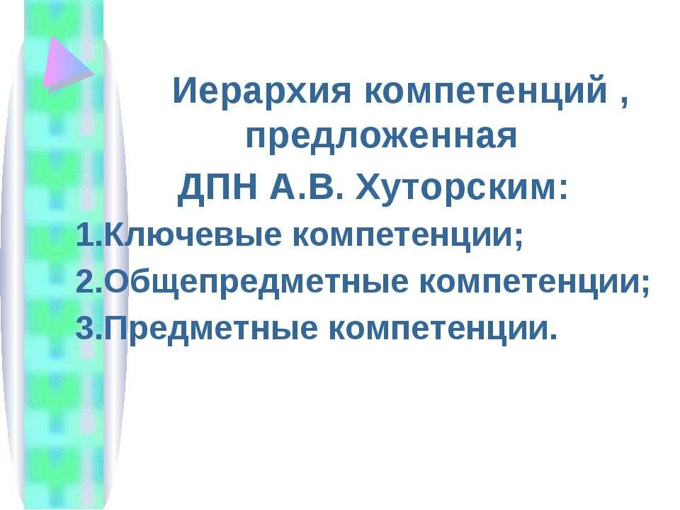 Иерархия компетенций , предложенная ДПН А.В. Хуторским: Ключевые компетенции;...
