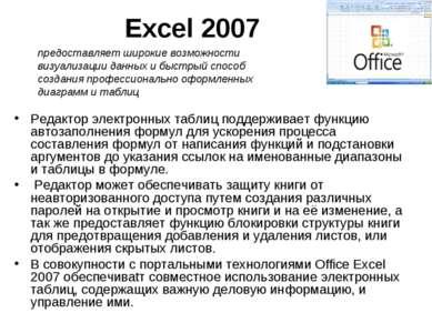 Excel 2007 Редактор электронных таблиц поддерживает функцию автозаполнения фо...