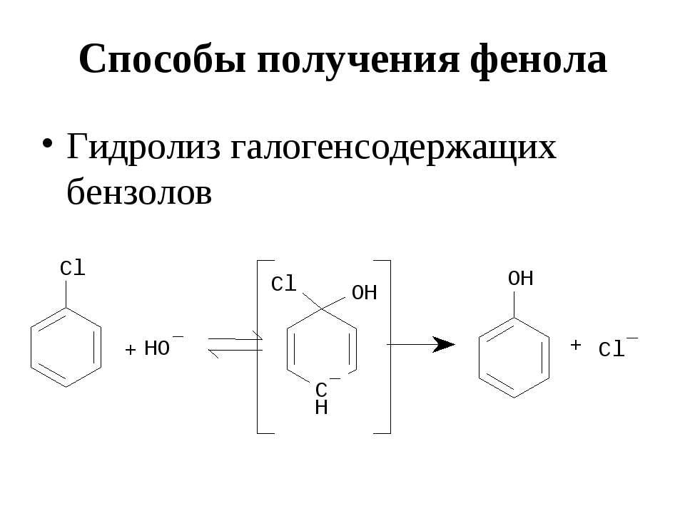 Способы получения фенола Гидролиз галогенсодержащих бензолов