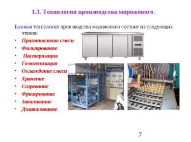 1.3. Технология производства мороженого. Базовая технология производства моро...