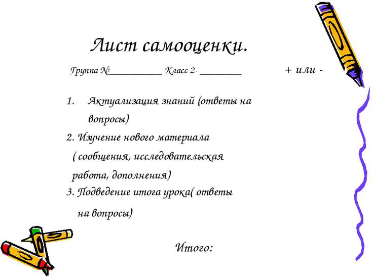 Лист самооценки. Группа № __________ Класс 2- ________ + или - Актуализация з...