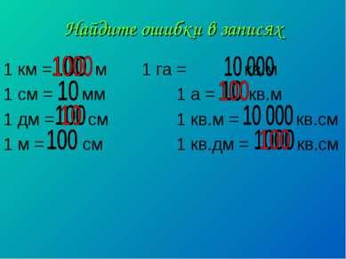 Найдите ошибки в записях 1 км = м 1 га = кв.м 1 см = мм 1 а = кв.м 1 дм = см ...