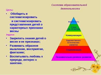 Цель: Обобщить и систематизировать и систематизировать представления детей о ...