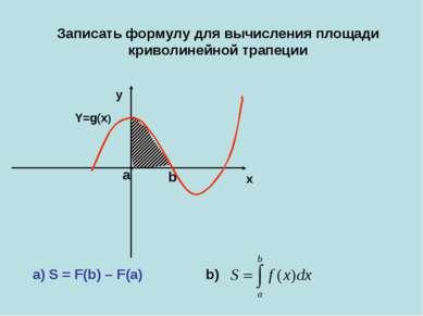 Y=g(x) x b a y Записать формулу для вычисления площади криволинейной трапеции...