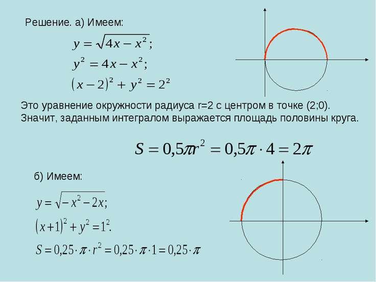 Решение. а) Имеем: Это уравнение окружности радиуса r=2 с центром в точке (2;...