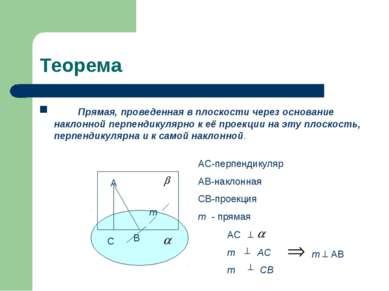 Теорема Прямая, проведенная в плоскости через основание наклонной перпендикул...