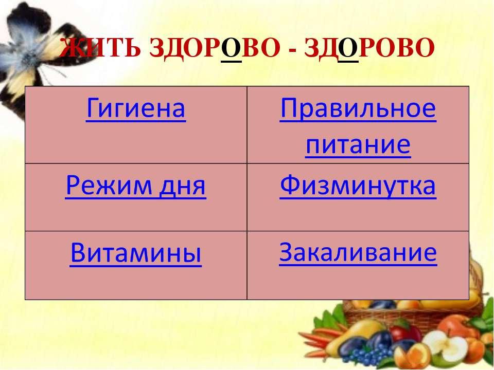 ЖИТЬ ЗДОРОВО - ЗДОРОВО