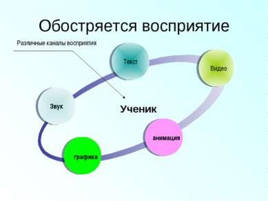 Обостряется восприятие Звук Текст Видео анимация графика Ученик Различные кан...