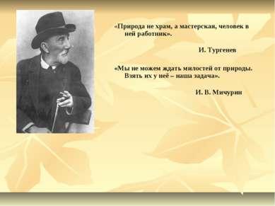 «Природа не храм, а мастерская, человек в ней работник». И. Тургенев «Мы не м...