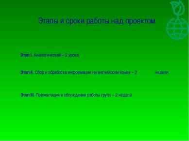 Этапы и сроки работы над проектом Этап I. Аналитический – 2 урока Этап II. Сб...
