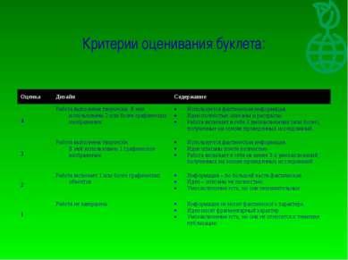Критерии оценивания буклета: Оценка Дизайн Содержание 4 Работа выполнена твор...