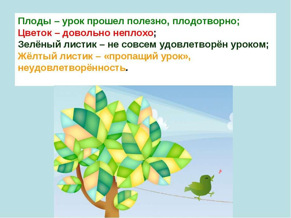 Плоды – урок прошел полезно, плодотворно; Цветок – довольно неплохо; Зелёны...