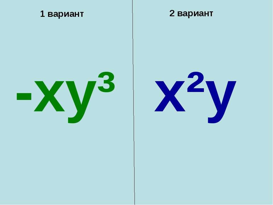 1 вариант 2 вариант -xy³ x²y